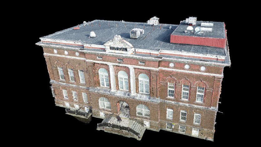 3D UAV point cloud file model of the  Waterville City Hall