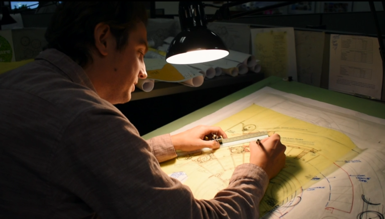 A Landscape Architect at Sebago Technics working on site design and layout for a project.